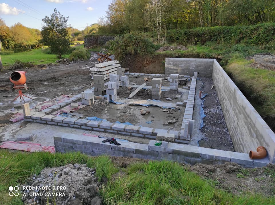 Garage construction project in Roche, Cornwall